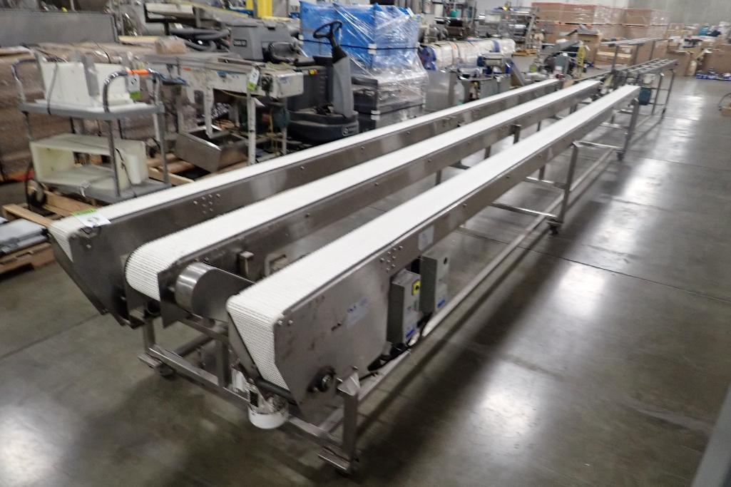 Lot 1007 - PCS 3 lane SS conveyor, (2) 6 in. wide belts ,(1) 4 in. wide belt, 22 ft. long x 34 in. tall, SS fra