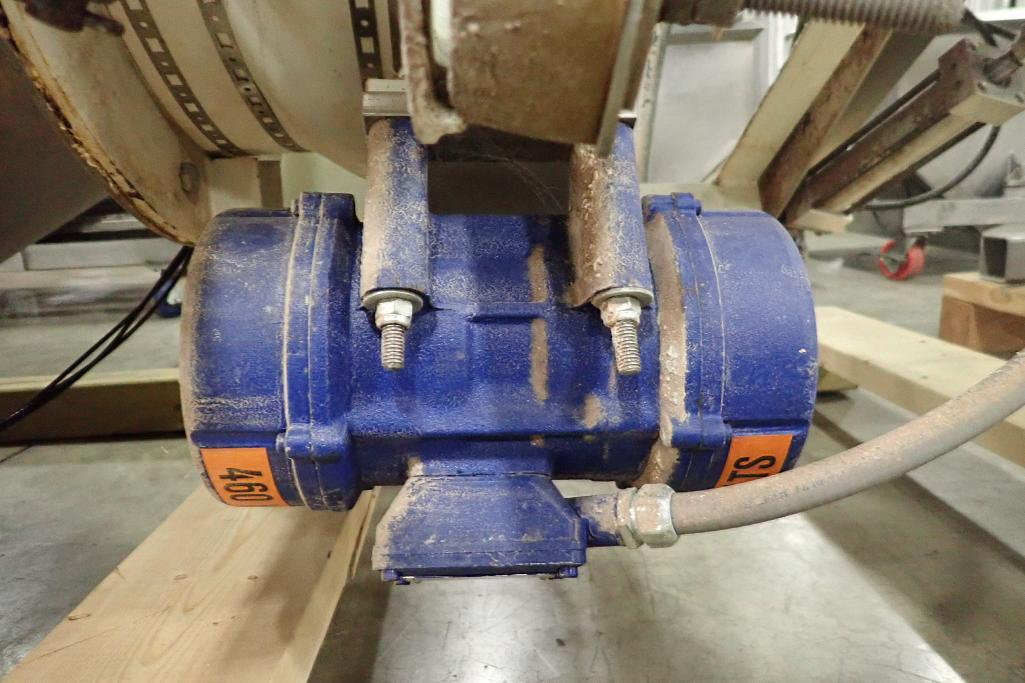 Lot 1049 - Shick scaling hopper, 50 in. dia x 36 in. straight side, 28 in. cone, pneumatic butterfly valve, vib