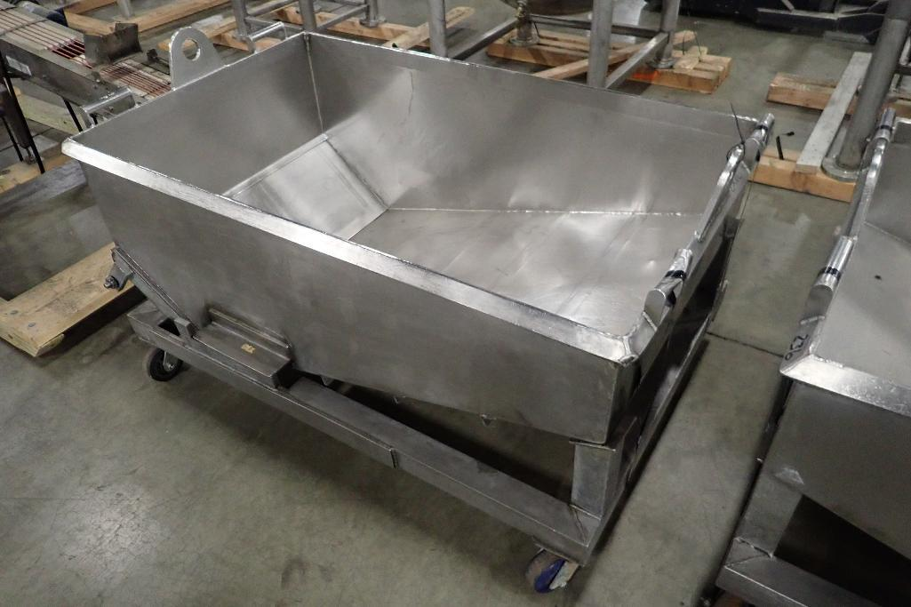 Lot 1058 - SS dough trough, 60 in. long x 36 in. wide x 25 in. deep, slant bottom, slide gate discharge, SS fra