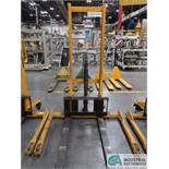 2,200 LB CAP BIG JOE MODEL MSA 1000 MANUAL HYDRAULIC WALK-BEHIND PALLET STACKER; S/N H16060012,