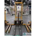 2,200 LB CAP BIG JOE MODEL MSA 2200 MANUAL HYDRAULIC WALK-BEHIND PALLET STACKER; S/N H15120033,