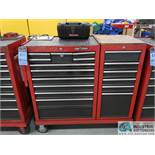 TWELVE-DRAWER CRAFTSMAN PORTABLE TOOL CHEST WITH 6-DRAWER SIDE MOUNT BOX