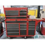 """TWELVE-DRAWER CRAFTSMAN PORTABLE TOOL CHEST WITH 7-DRAWER TOP BOX & 6-DRAWER SIDE MOUNTED BOX & 3"""""""