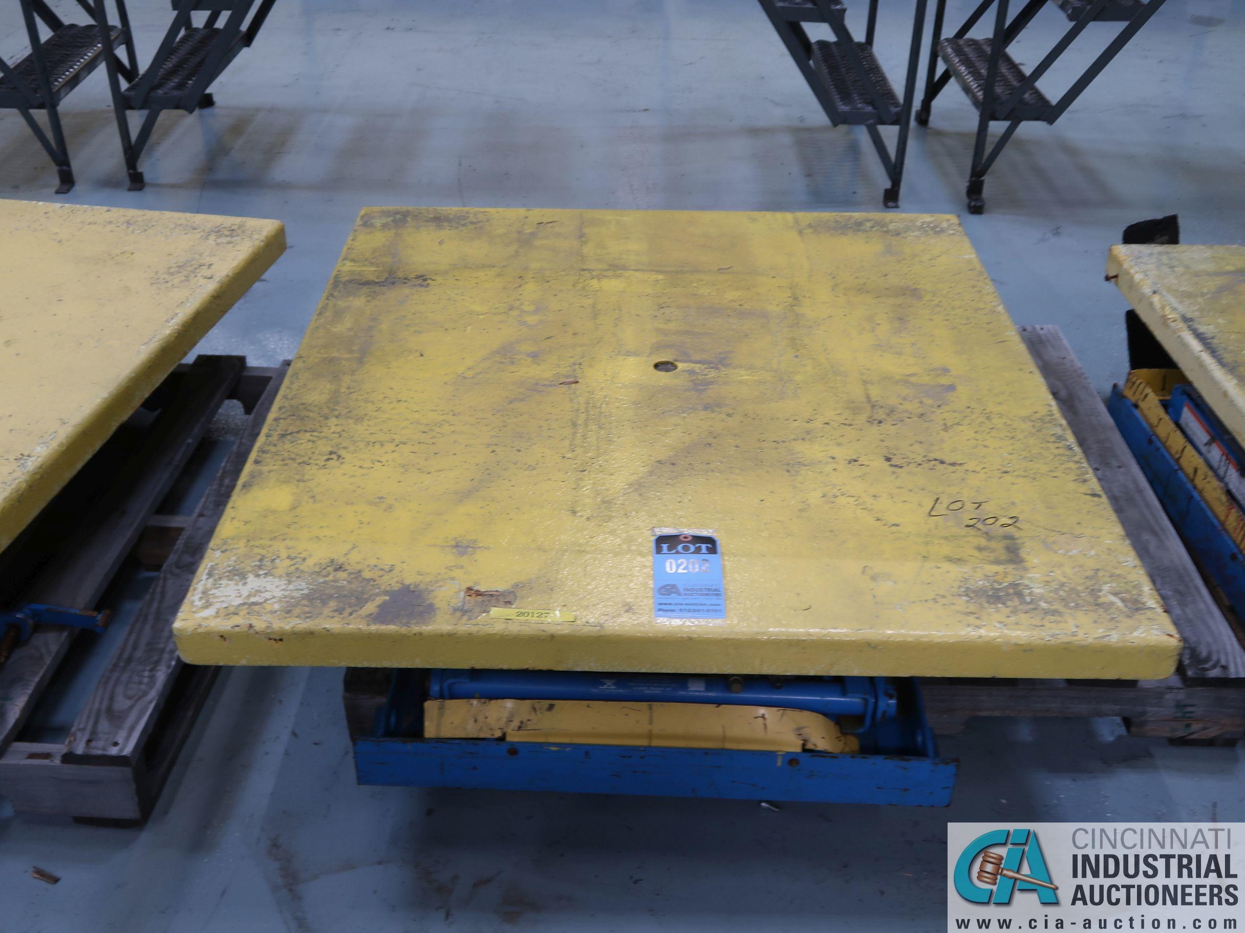 "48"" X 48"" X 3,000 LB CAP BISHAMON MODEL EX-30 ROTATING SCISSOR LIFT TABLE *$25.00 RIGGING FEE"