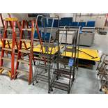 (LOT) (1) FOUR-STEP & (2) THREE-STEP LETTERMAN WAREHOUSE LADDERS