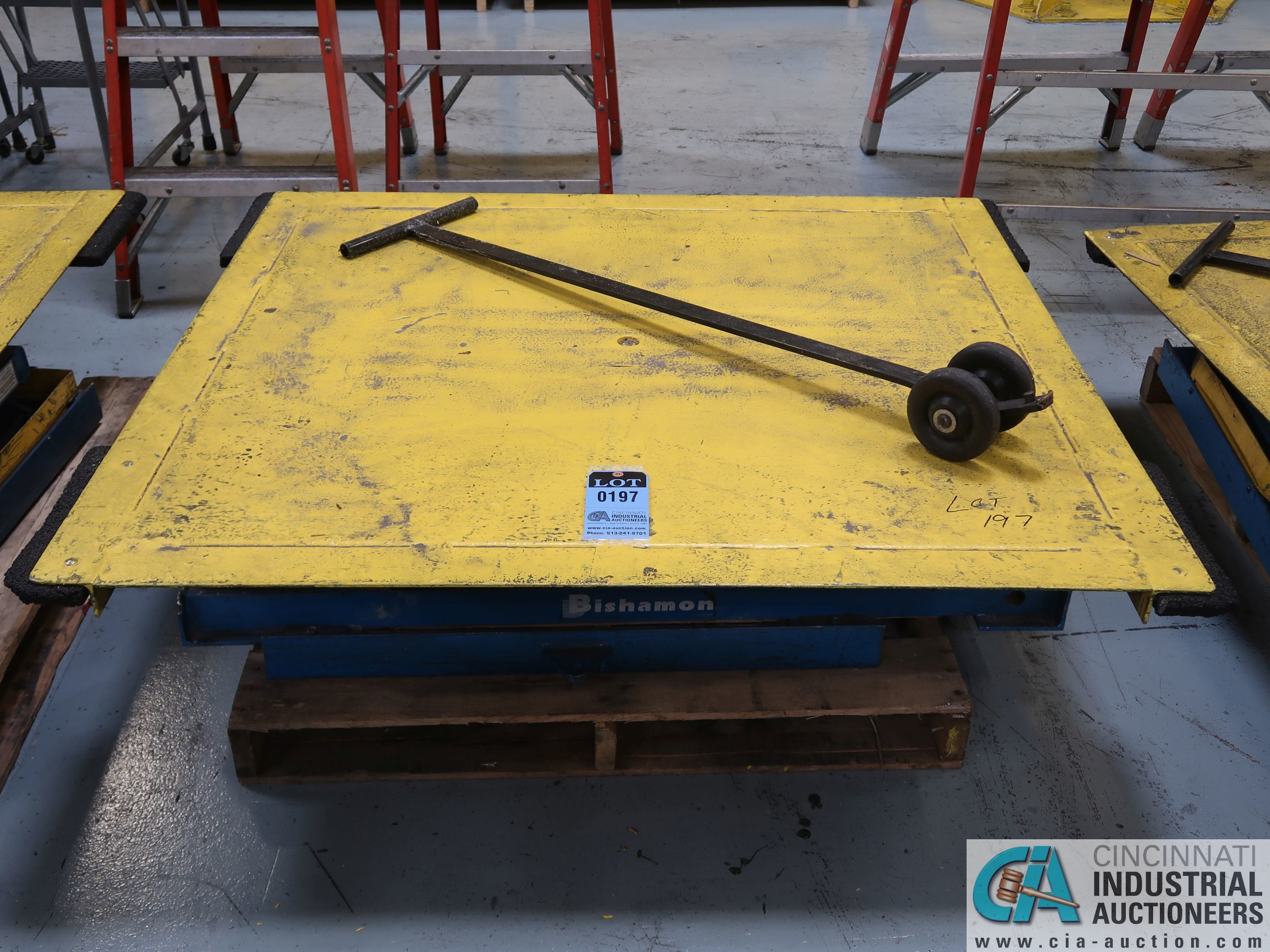"50"" X 54"" PLATFORM X 3000 LB CAP BISHAMON MODEL E2-30 ROTATING SCISSOR LIFT TABLE *$25.00 RIGGING"