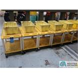 """18"""" X 24"""" X 24"""" HIGH THE TUFFY YELLOW UTILITY CARTS WITH MOUNTED PARTS TOTE"""
