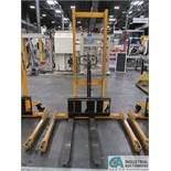 2,200 LB CAP BIG JOE MODEL MSA 2200 MANUAL HYDRAULIC WALK-BEHIND PALLET STACKER; S/N H15120019,