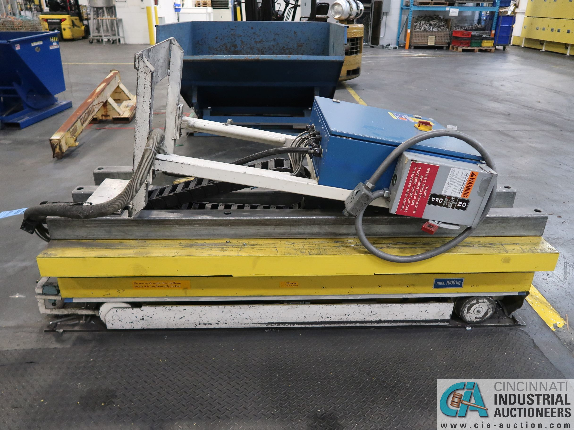 "1,000 KG / 2,200 LB. MAX TRACK RUNNING ELECTRIC PENDENT CONTROL SCISSOR LIFT TABLE; S/N N/A, 34"" X - Image 3 of 4"