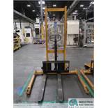 2,200 LB CAP BIG JOE MODEL MSA 2200 MANUAL HYDRAULIC WALK-BEHIND PALLET STACKER; S/N H15120039,