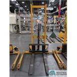 2,200 LB CAP BIG JOE MODEL MSA 2200 MANUAL HYDRAULIC WALK-BEHIND PALLET STACKER; S/N H15120041,