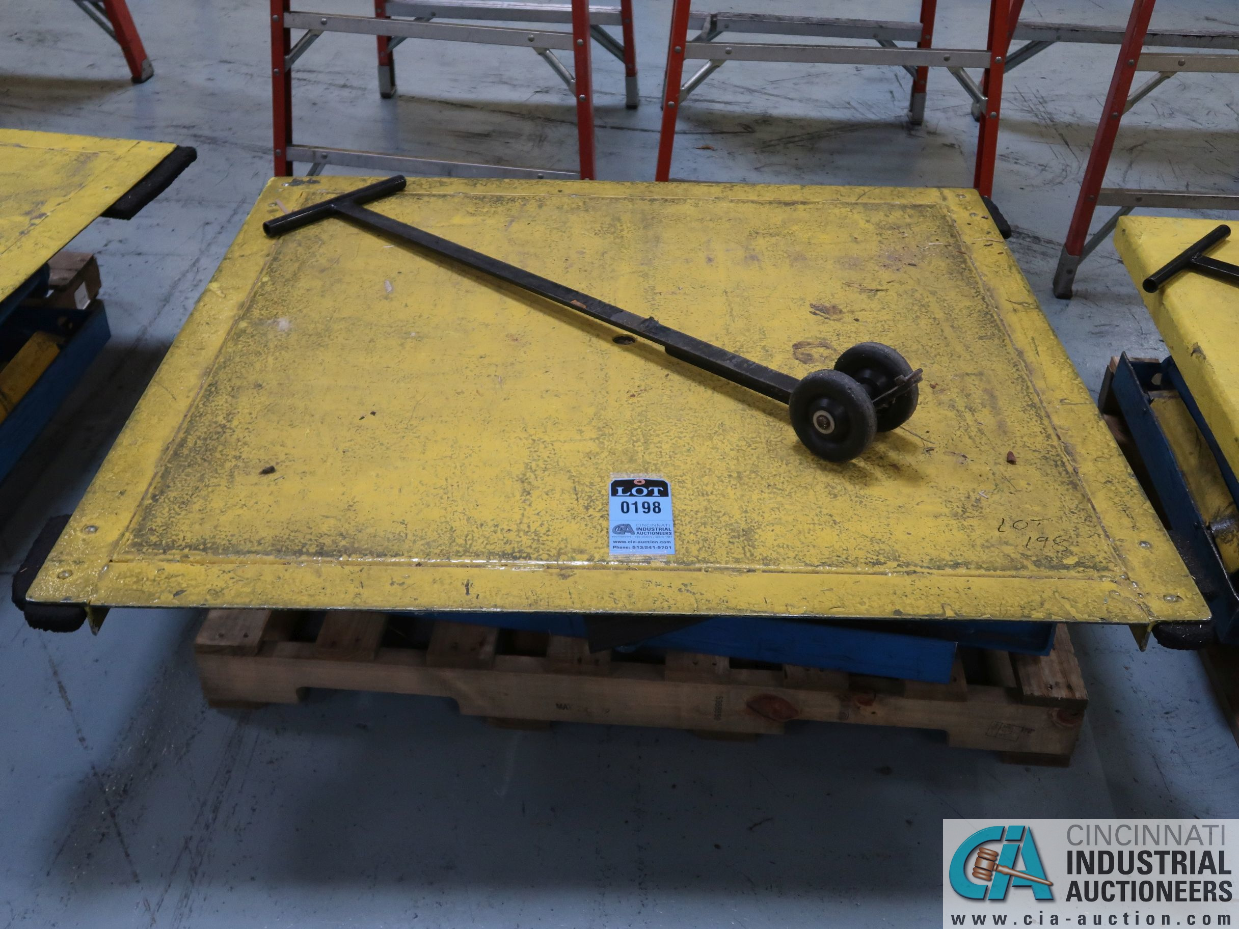 "50"" X 54"" PLATFORM X 3000 LB CAP BISHAMON MODEL EZ-30 ROTATING SCISSOR LIFT TABLE *$25.00 RIGGING"
