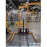 2,200 LB CAP BIG JOE MODEL MSA 1000 MANUAL HYDRAULIC WALK-BEHIND PALLET STACKER; S/N H16060007,