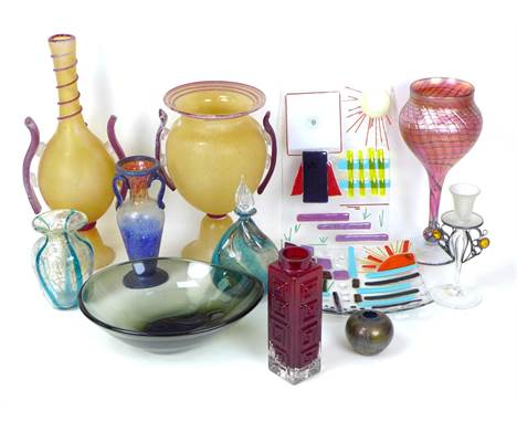 A group of decorative and Studio Glass wares, comprising a Geoffrey Baxter for Whitefriars Greek Key vase, in Ruby, pattern n