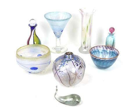 A group of decorative Studio Glass wares, including a Boda Artist Collection, Sweden, trumpet shaped stemmed glass, 21.5cm hi