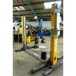 AGM 3200kg 2 post vehicle lift, model 5132 BE, serial no. 322050169 (2005), single phase Please