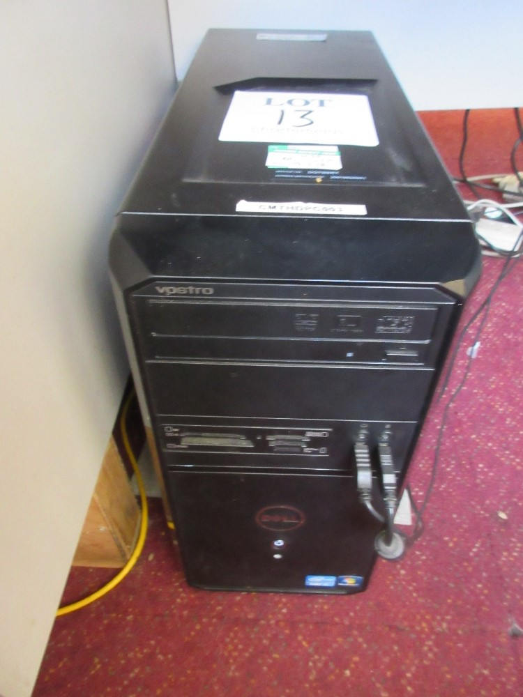 Lot 13 - Dell Vostro mini tower PC with flat screen monitor, keyboard and mouse incorporating i3-2120 process