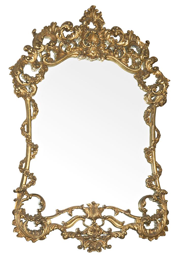 Gran espejo español estilo rococó con marco en madera tallada y ...