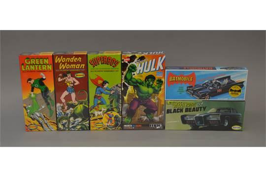 Six superhero related plastic model kits: Polar Lights