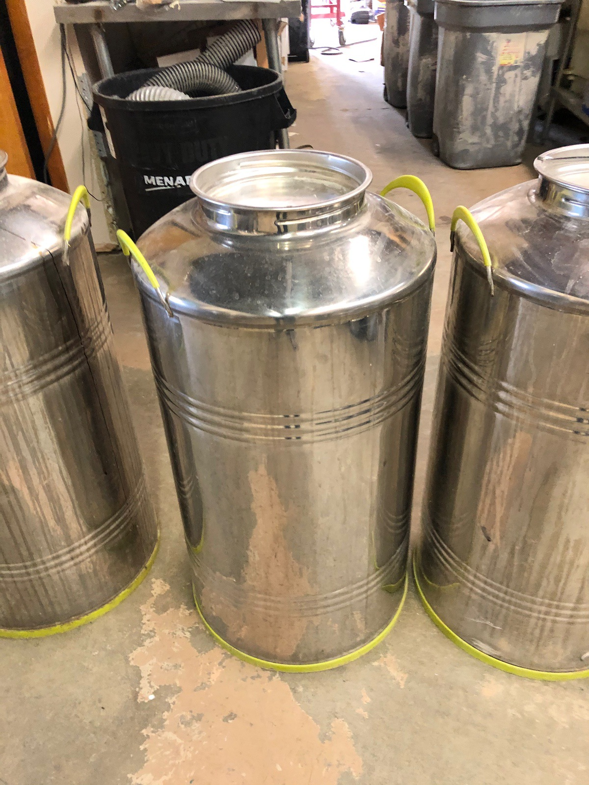 Lot 25 - (5) Stainless Steel Fusti Cans | Sub to Bulk | Rig Fee: $25 or HC