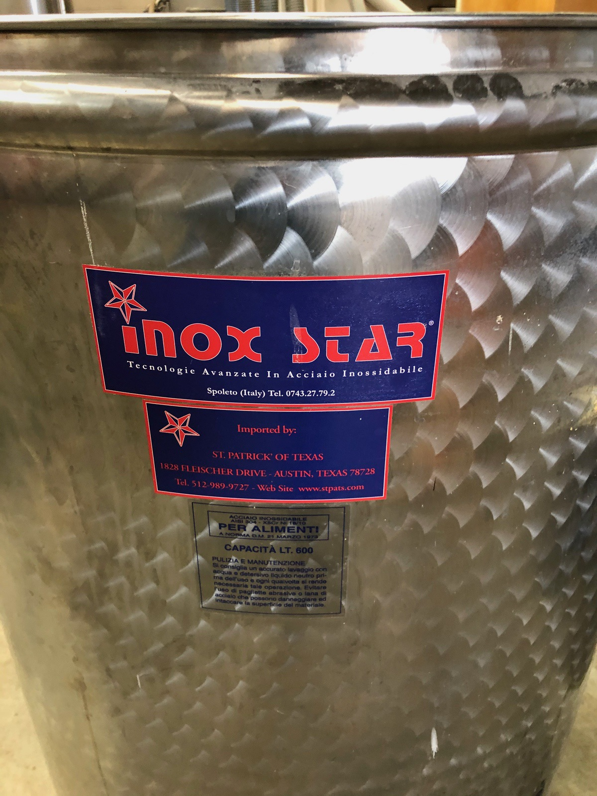 Lot 9 - iNox Star 600L Stainless Steel Holding Tank, Approx 31in OD x 50in OA | Sub to Bulk | Rig Fee: $150