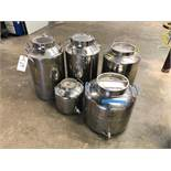(5) Stainless Steel Fusti Cans | Sub to Bulk | Rig Fee: $25 or HC