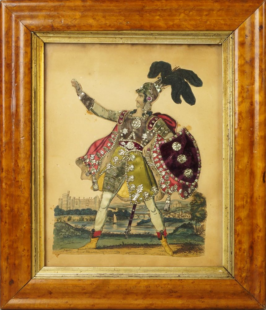 Lot 227 - Two Theatrical tinsel pictures of Master Owen, as Young Norval and a knight, mid 19th century,