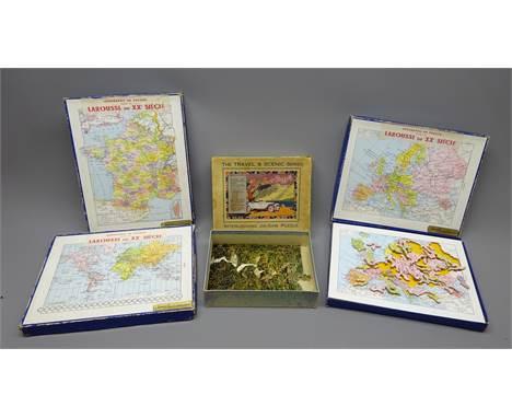 Four wooden jig-saws comprising three Jeux Artistiques maps entitled 'Planisphere', 'France Par Departements' and 'Europe' an