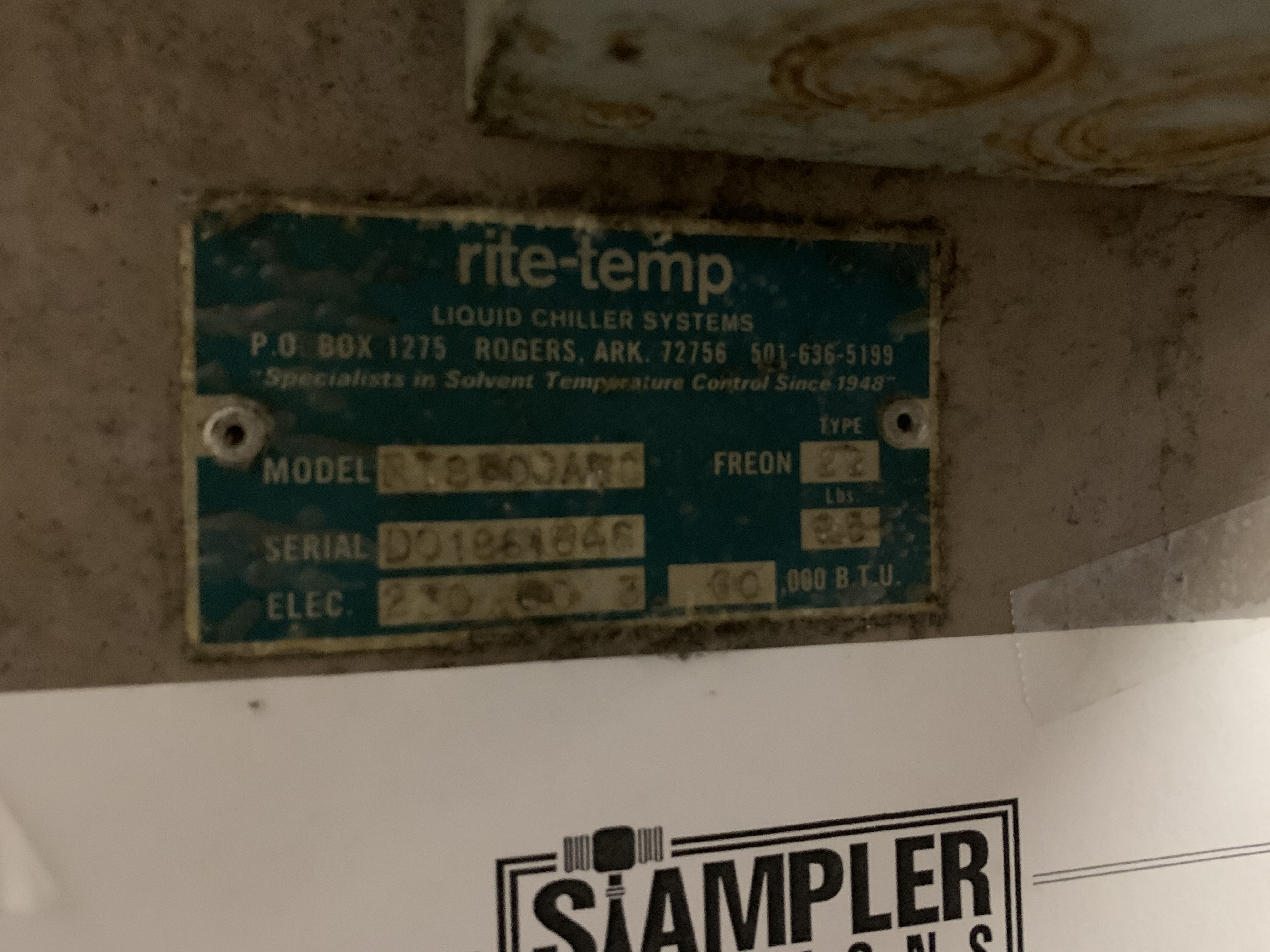 RITE-TEMP RTS-600ANC LIQUID CHILLER SYSTEM - 230 VOLT / 3 PHASE - SERIAL No. D001861846 - Image 3 of 7
