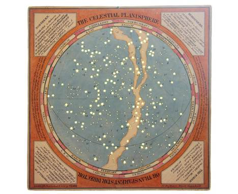 THE CELESTIAL PLANISPHERE, two 19th century hand coloured diagrams of the Northern and Southern hemispheres with tissue guard