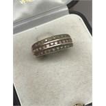 9ct GOLD PINK SAPPHIRE & DIAMOND RING