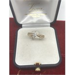 14ct GOLD MARQUISE CUT DIAMOND RING 0.48cts PLUS 4 SMALL ROUND CUT DIAMONDS ON SHOULDERS