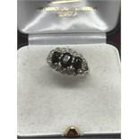9ct GOLD SAPPHIRE TRILOGY & DIAMOND SET RING