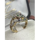 18ct GOLD CARTIER STYLE PANTHER RING SET WITH DIAMONDS, RUBIES, EMERALDS & SAPPHIRES