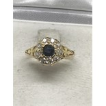 SAPPHIRE & OLD CUT DIAMOND CLUSTER RING