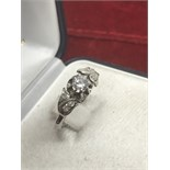 VINTAGE 18ct WHITE GOLD 0.50ct DIAMOND SOLITAIRE RING