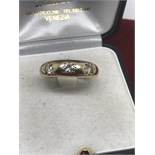 9ct GOLD GYPSY RING SET WITH 3 GOOD QUALITY DIAMONDS