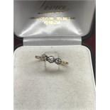 GOLD 3 STONE DIAMOND RING - SIZE N