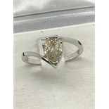 18ct WHITE GOLD 1.18ct FANCY YELLOW DIAMOND RING PEAR SHAPED