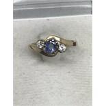 9ct GOLD SAPPHIRE & DIAMOND TWIST RING
