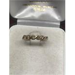 9ct GOLD 5 STONE DIAMOND RING