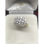 18ct GOLD RING SUPERB QUALITY 2.14cts CLUSTER VS DIAMONDS - COLOUR G
