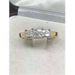 ART DECO STYLE 18ct GOLD DIAMOND RING