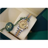 ROLEX DATEJUST - Ladies 26mm - STEEL & 18K GOLD with TAPESTRY DIAL