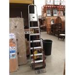 An aluminium 6 step folding step ladder (SWL 95kg) and a Clark Strong Arm folding sack cart (2)