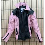 Ladies pink and black leather motorbike jacket by J&S size XL - advised not used