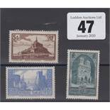 Stamps, France, three stamps, 1929, SG472, 473a & 474b, all mint catalogue value £220+