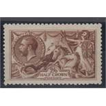 Stamp, GB, 2/6- De la Rue, Seahorse, yellow-brown, SG 406, mounted mint, catalogue value £325