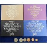 Coins, Royal Mint Proof Coin Sets, 4 sets 1978 x 1, 1980 x 1, 1981 x 1 and 1982 x 1 together with