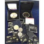 Coins, two, limited edition, gold plated Bradford Exchange boxed commemorative coins, Spitfire First
